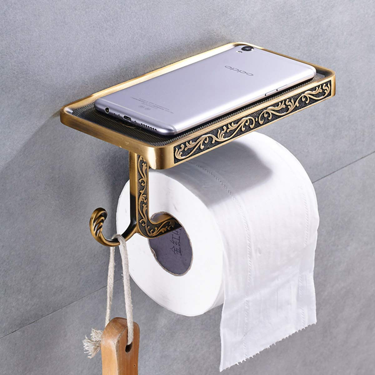 Toilet Roll Holder with Phone Shelf